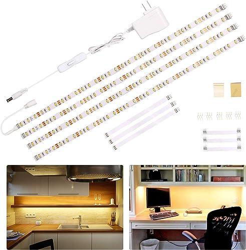 Wobane Under Cabinet Lighting Kit,Flexible LED Strip Lights Bar,Under Counter Lights for Kitchen,Cupboard,Desk,Monito...