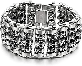 Heavy and Study Mens Steel Large Link Chain Motorcycle Bike Chain Bracelet with Skulls, Polished