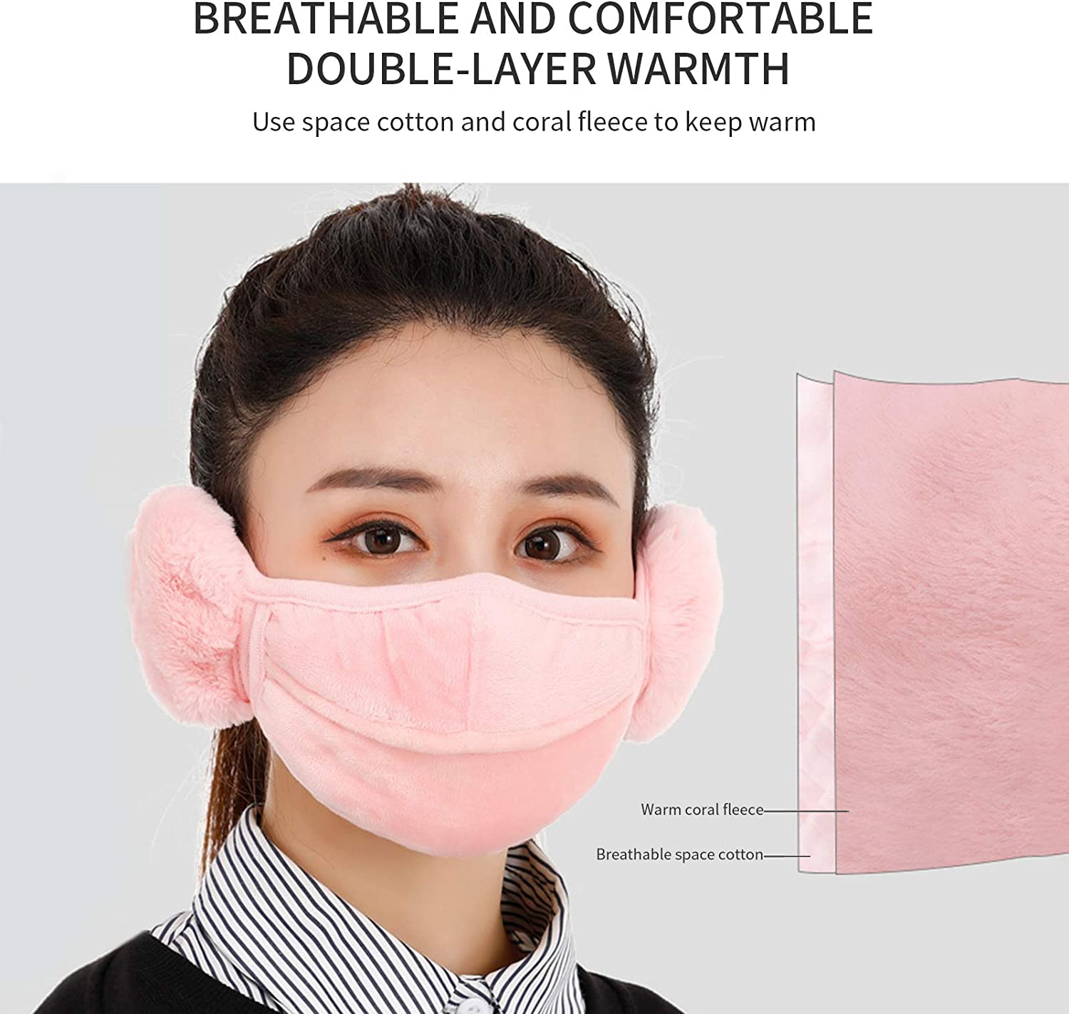 Winter Face Covering Earmuffs Windproof Face Covering Ear Warmers Fluffy Face Bandana Ear Covers Cold Weather Balaclava