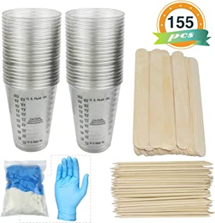 10oz Measuring Mixing Cups LET'S RESIN Epoxy Resin Cups - 50 Plastic Mixing Cups with 50 Stir Sticks, 50 Orange Wood Sticks, 10 Pairs Nitrile Gloves for Resin Casting,Paint,Cup Turner