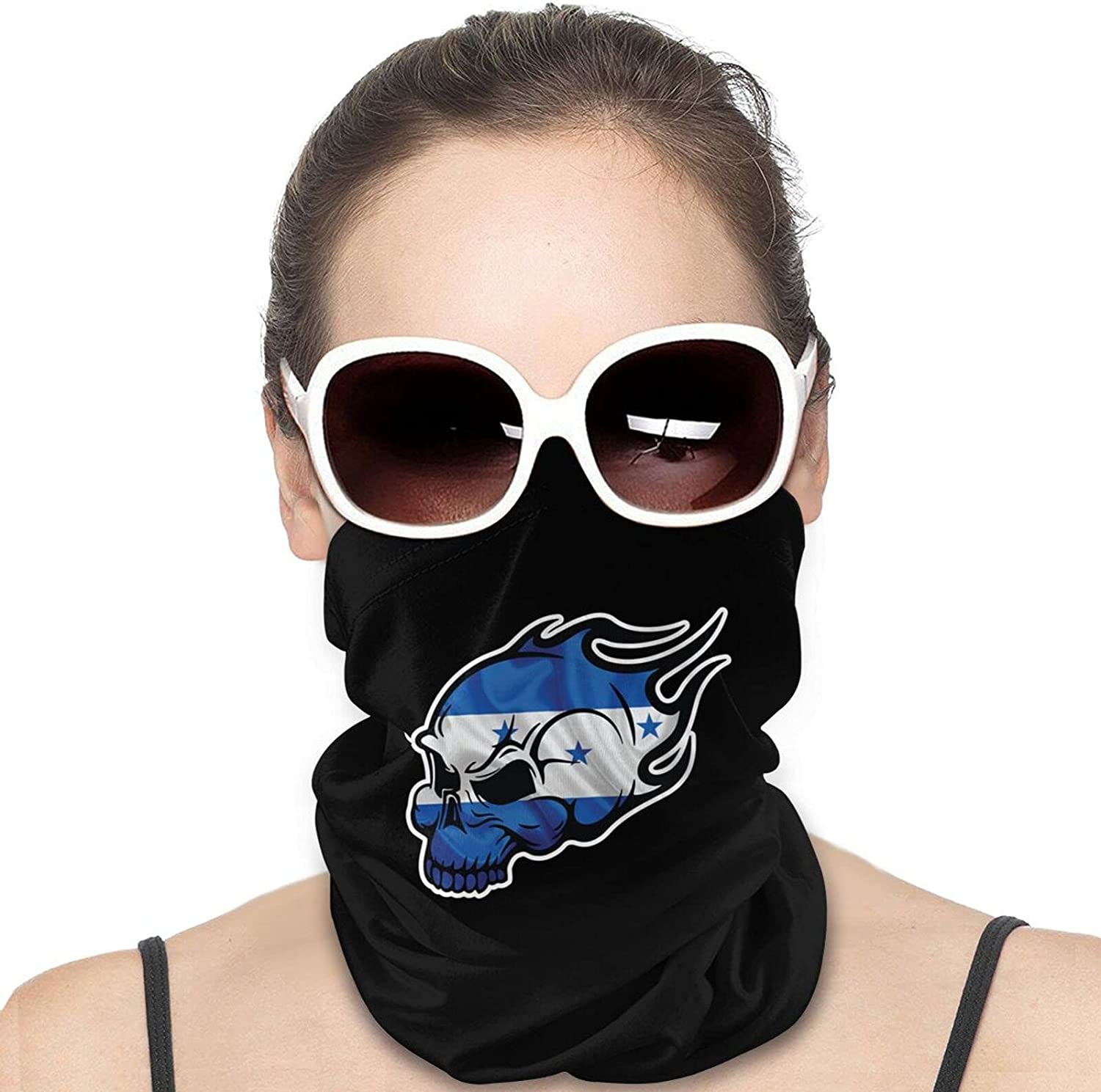 Honduras Flag Skull Round Neck Gaiter Bandnas Face Cover Uv Protection Prevent bask in Ice Scarf Headbands Perfect for Motorcycle Cycling Running Festival Raves Outdoors