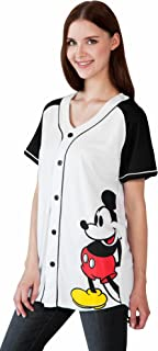 Mickey Minnie Mouse Woman's Jersey Shirt Button Front Print Back 28