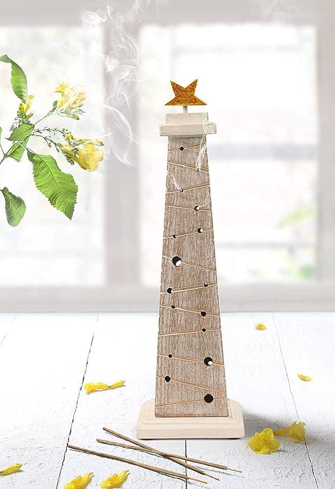 心配する剣聖なるstoreindya 感謝祭ギフト 木製クリスマスツリーのお香 高さ14インチ ホワイトとゴールド ゴールド箔 新築祝いに最適