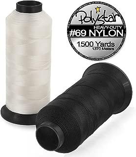 Polystar Heavy-Duty #69 Bonded Nylon Sewing Thread - 1500 Yard Spool - White