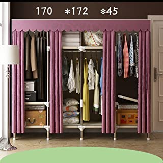 Cloth Closet Folding Assembly cabinets Double Pipe Bold Wardrobe Oxford Cloth Closet Easy to Install,6767