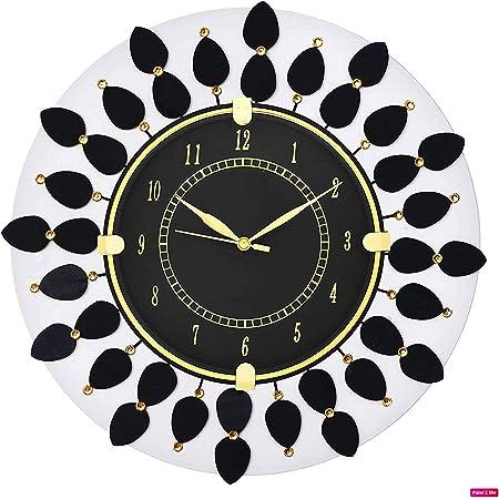 CIRCADIAN Ajanta Wooden Hand Painted Wall Clock (Black)