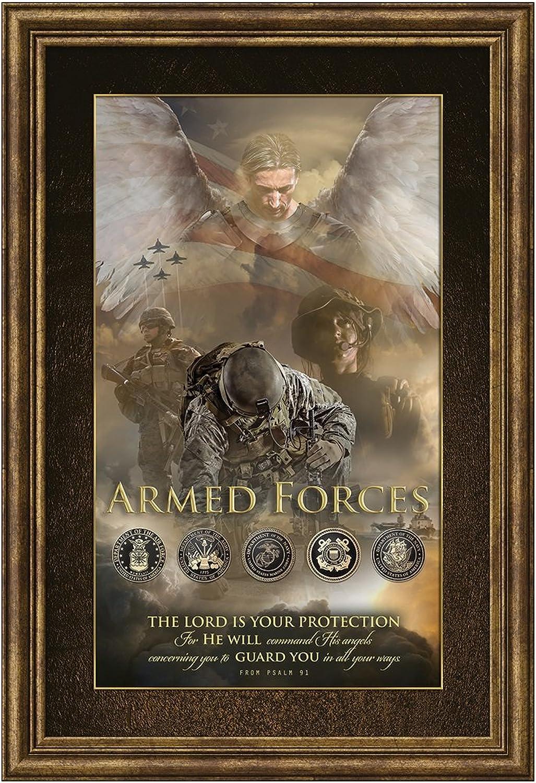 Carpentree 13 x19  Military Angel of Predection Framed Art, 13  x 19