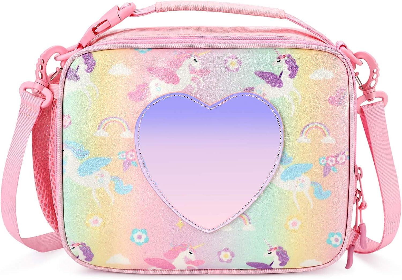 mibasies Kids Insulated Lunch Box for Girls Rainbow Unicorn Bag (Unicorn Pink Blue Rainbow)