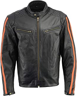 M Boss Motorcycle Apparel BOS11508 Mens Black and Orange Armored Leather Jacket with Racing Stripes - 2X-Large