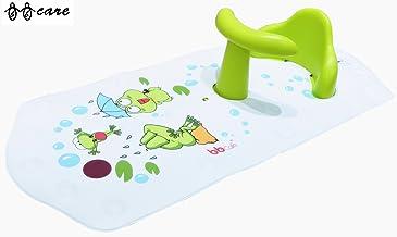 BBCare Asiento de Baño y Alfombrilla Extra Grande con Indicador de Agua Caliente Antideslizante Seguro para Bebés (Rana_Verde)