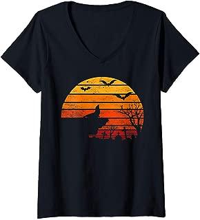 Womens Retro Vintage Sunset Seal Halloween Costume Animal Lover V-Neck T-Shirt