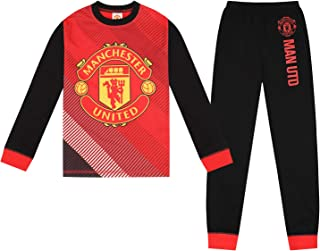 Boys Manchester United Black Long Cotton Pyjamas Ages 4-12 Years MUFC Gift