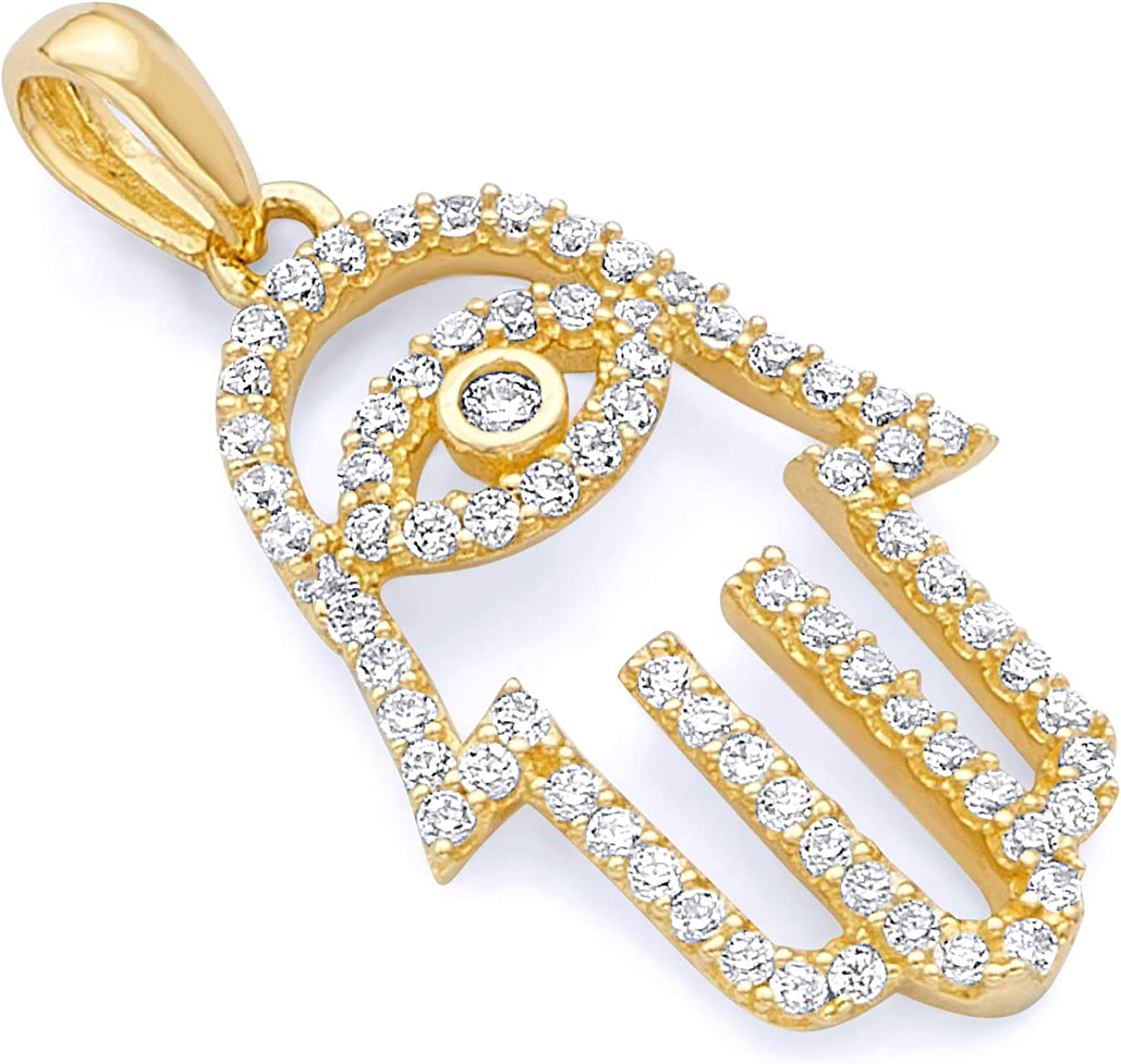 14k REAL Yellow Gold Hamsa Hand CZ Charm Pendant