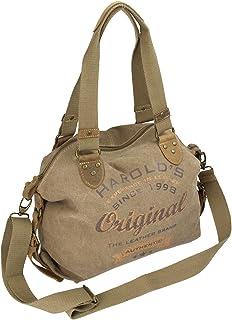 """HAROLD""""S Damen Handtasche im Vintage-Look aus Canvas mit hochwertigem Echt-Lederbesatz und Retro Print 4536"""