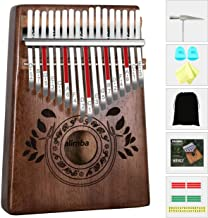 UNOKKI Kalimba 17 Keys Thumb Piano with Study Instruction and Tune Hammer, Portable Solid African Wood Finger Piano, Gift for Kids Adult Beginners (Chocolate Brown).