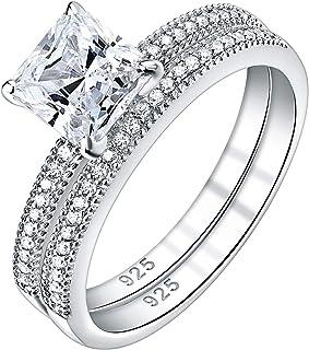 Newshe خواتم زفاف للنساء خاتم الخطوبة مجموعة من الفضة الاسترليني الأميرة 1.3Ct Cz الحجم 5-10