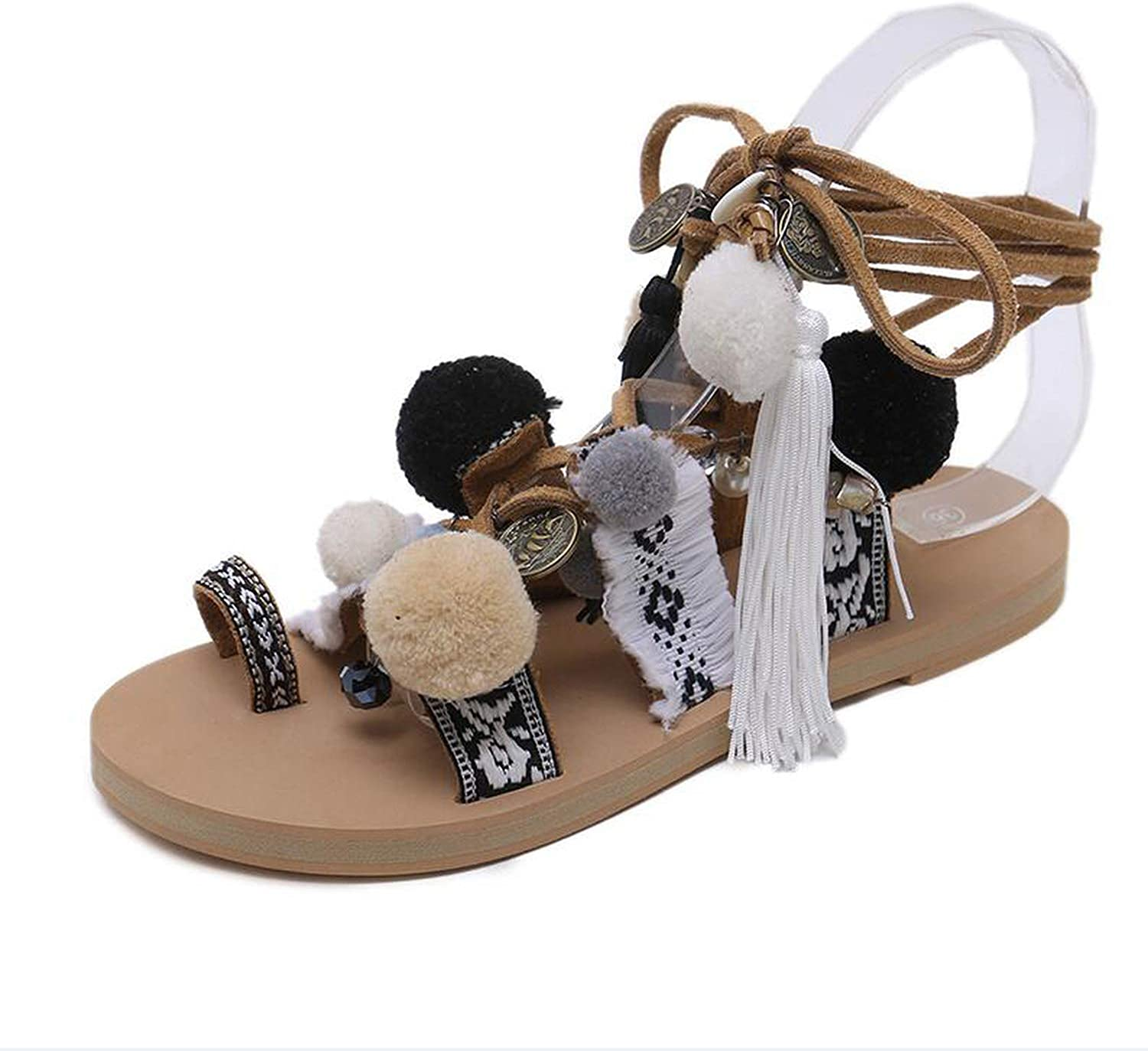 Yuren Snow Bohemia Fringed Pompoms Lady Gladiator Fringed Sandals shoes Cross Strap tie up Women Flats Sandals