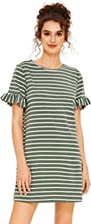 Women's Striped Short Sleeve Loose Swing T-Shirt Dress