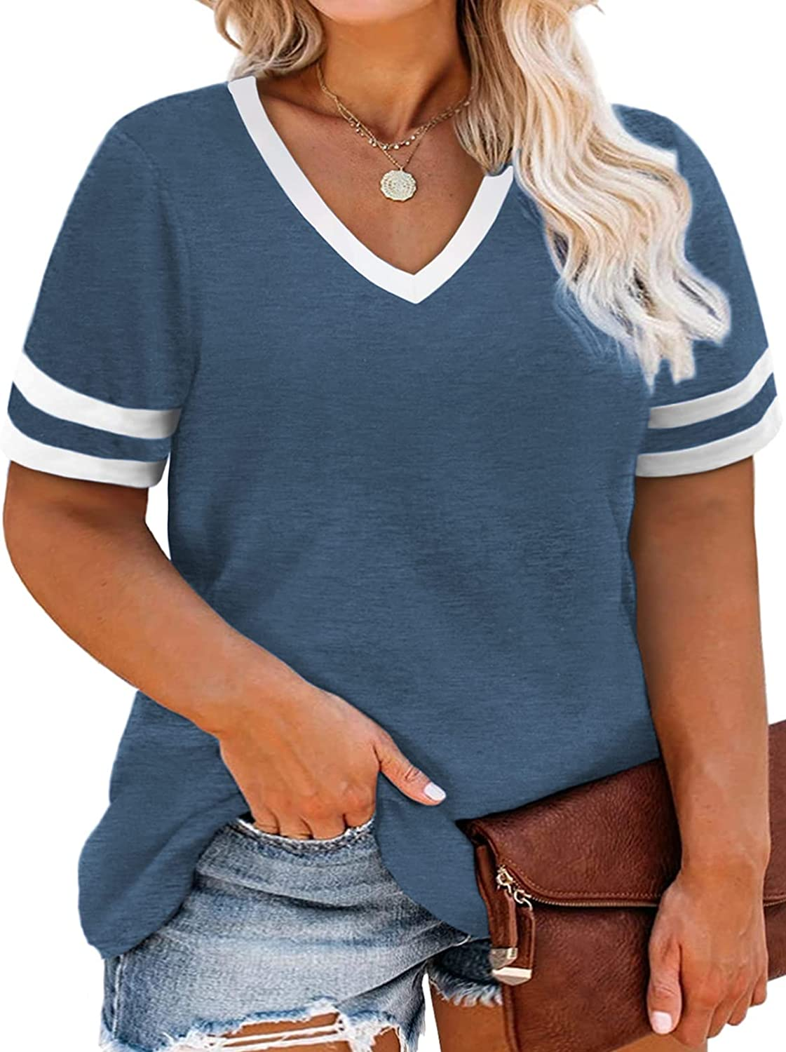 ROSRISS Womens Plus Size Tops V-Neck Loose Tunics Casual Color Block Tee Shirts