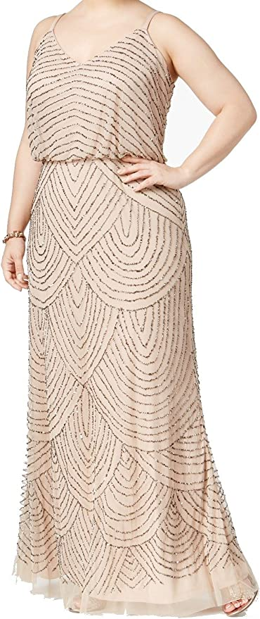 Vintage 1920s Dresses – Where to Buy Adrianna Papell Womens Plus-Size Long Beaded Gown  AT vintagedancer.com