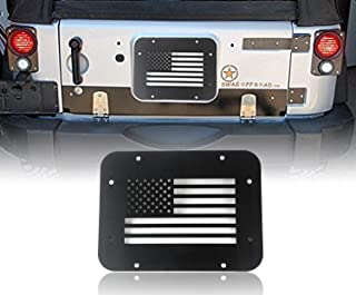 Spare Tire Delete Blank Tramp Stamp Steel Tailgate Vent Plate Cover for 2007-2018 Jeep Wrangler JK