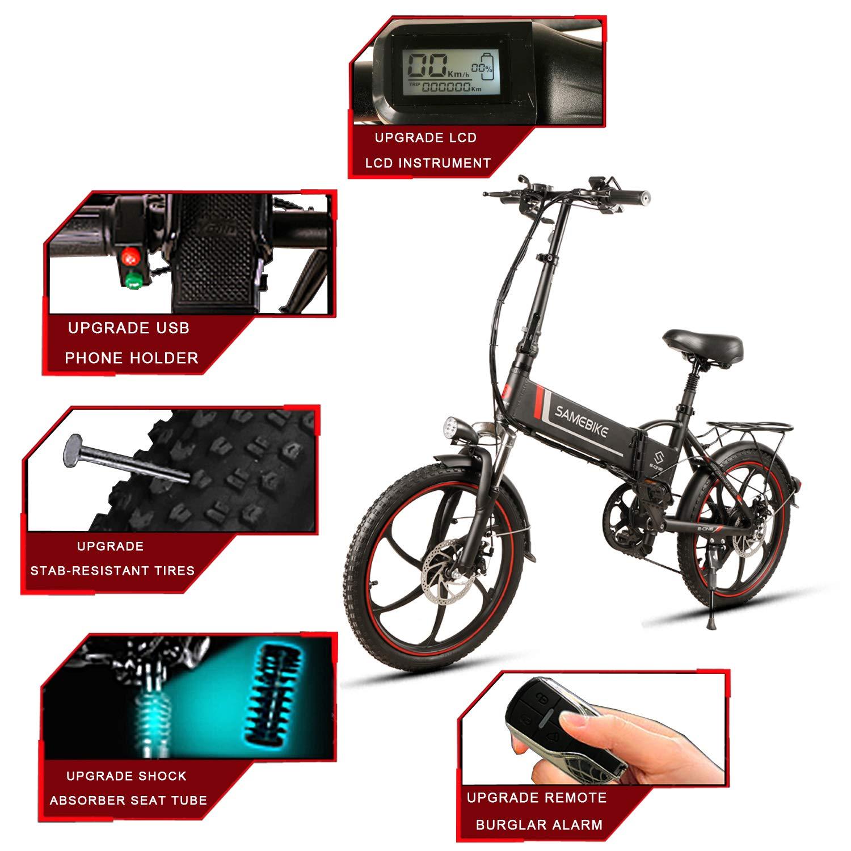 Samebike Bicicleta eléctrica plegable para adultos, 20 pulgadas ...