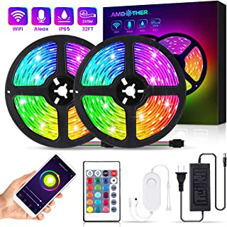 AMBOTHER LED Strip Lights 32.8FT Wireless Smart Phone APP Remote Controller 300 LEDs Color Changing Kit Work with Alexa Google Assistant Music Sync Neon RGB Rope Lights