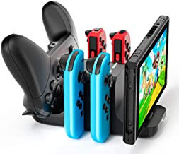 $20 » LVFAN 6 in 1 Controller Charger Dock Station for Nintendo Switch, Support 4 JoyCon and 2 NS Pro controllers to charge simu...