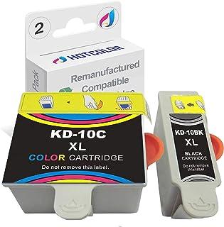 عبوتان من HOTCOLOR #10XL (لون واحد و1 أسود) متوافقة مع خراطيش الحبر المتوافقة مع Kodak 10B 10C لـ EasyShare 5100 5300 550...