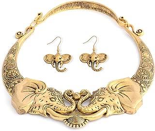 Tribal Boho Elephant Necklace Earrings Jewelry Set Stainless Steel Jewelry for Women(Silver/Gold)