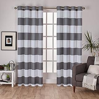 Exclusive Home Curtains Surfside Grommet Top Panel Pair, Black Pearl, 54x84, 2 Piece