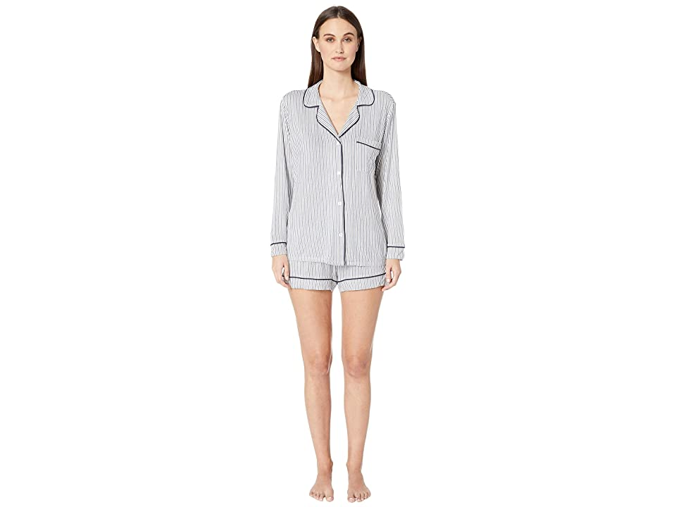 Eberjey Sleep Chic-The Long Sleeve Shorts PJ Set (Nordic Stripes/Northern Lights) Women