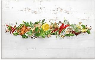 Artland Küchenrückwand Glas mit Motiv Spritzschutz Küche 80x50 cm Kräuter Essen Lebensmittel Chili Gewürze Chilischote Peperoni U1RK