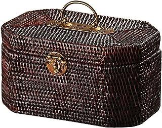 ZXNRTU Grand Cadeau Retro rotin Valise, Brown rotin Panier Pique-Nique en rotin Boîte de Rangement Voyage Valise (Color : ...