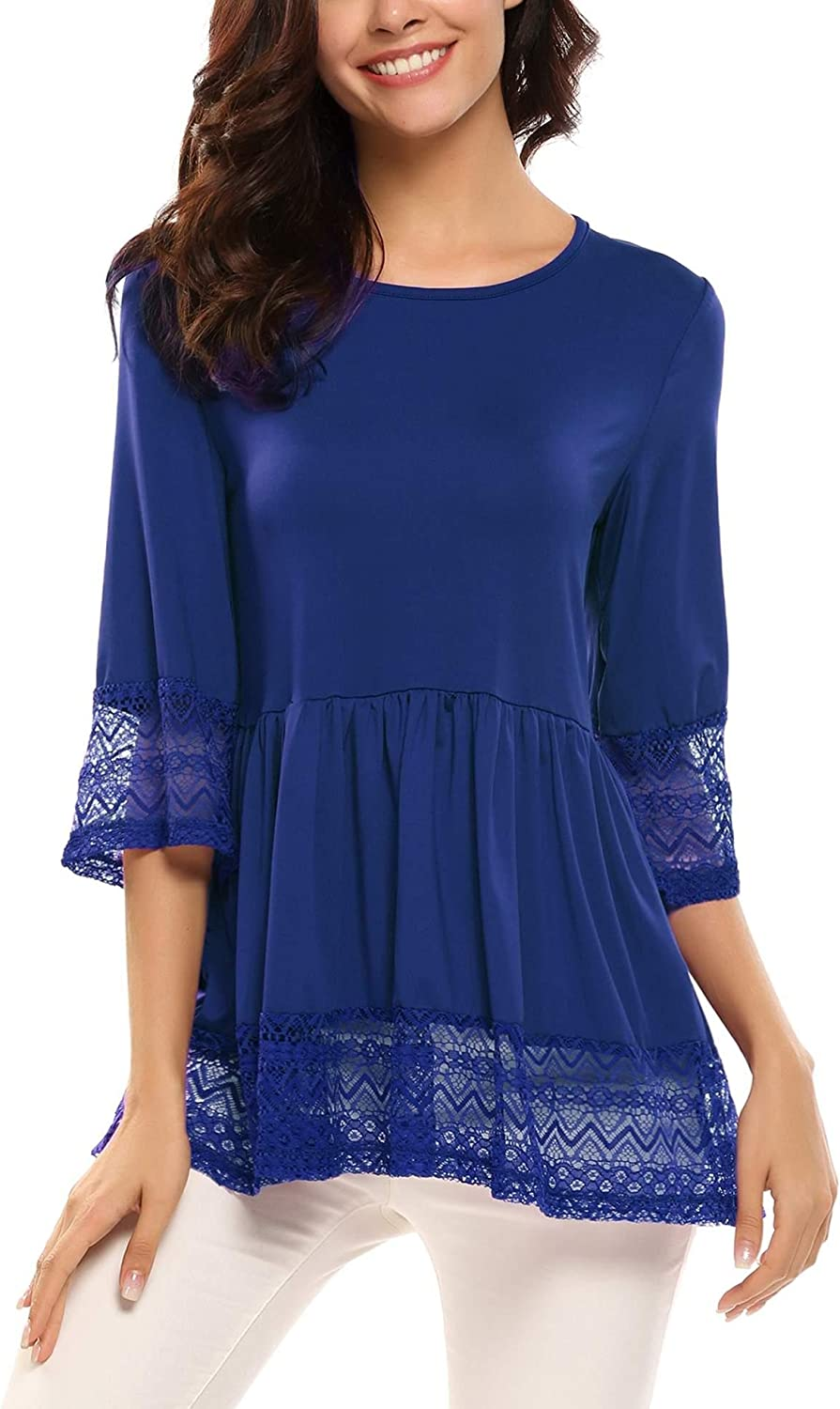 UNibelle Womens Casual 3 4 Sleeve Cute Babydoll Ruffle Flare Lace Tunic Tops T Shirts Loose Blouse