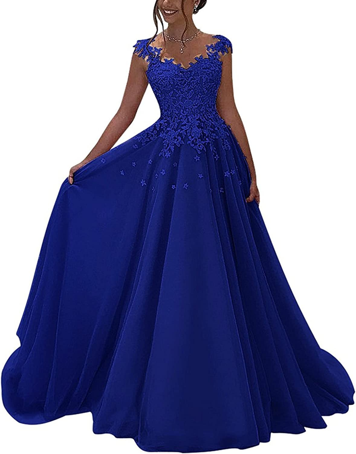 20KyleBird VNeck Lace Appliques Prom Dresses Long Beaded ALine Evening Gowns for Women Formal KB007