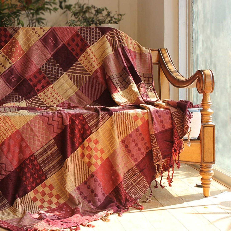 Lovehouse Baumwolle Baumwolle Baumwolle Stricken Sofa Decke Retro Dekoration Sofa Abdeckung Slipcover Leicht Sofa Throw Für Wohnzimmer-rot 220x260cm(87x102inch) B07D1J1XWJ 6e32bd