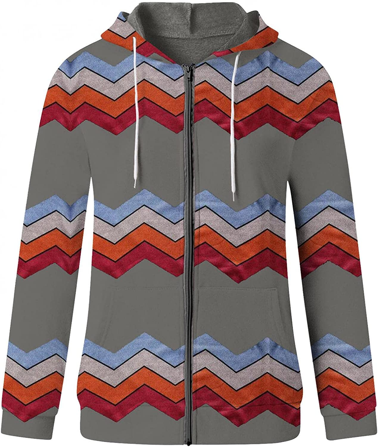 AODONG Womens Zip-Up Hoodie Sweatshirt Long Sleeve Print Lightweight Pullover Casual Stretchy Tunic Jacket with Pockets