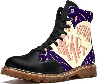 LORVIES Suivez Votre Coeur Amour Mignon Bottes d'hiver Chaussures Montantes en Toile à Lacets pour Hommes