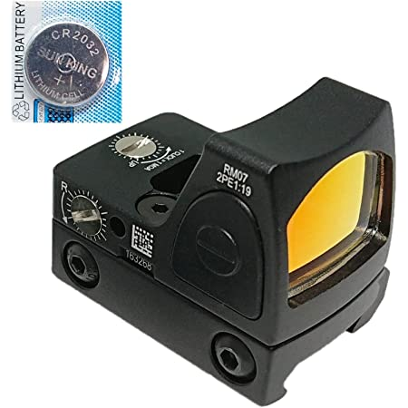 [AERITH BLACK] 最新ロット 改良レンズ Tr RMR タイプ レプリカ オープン ドットサイト ダットサイト 刻印入り 20mmレイル対応マウント 電池付 RMR (NoGM BK B)