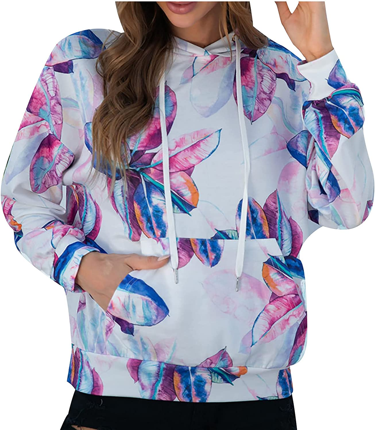 Women's Peach Blossom And Lotus Leaf Print Long Sleeve Hoodies Pullover With Pockets Casual Fall Sweatshirt