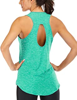 Fihapyli Women's High-Low Scoop Neck Backless Tank Top Light Weight Jersey Tank with Back Keyhole - Solid