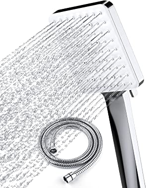 "Newentor High Pressure Shower Head with handheld, 6 Spray Settings Handheld Shower Head with 59"" Stainless Steel Shower H"