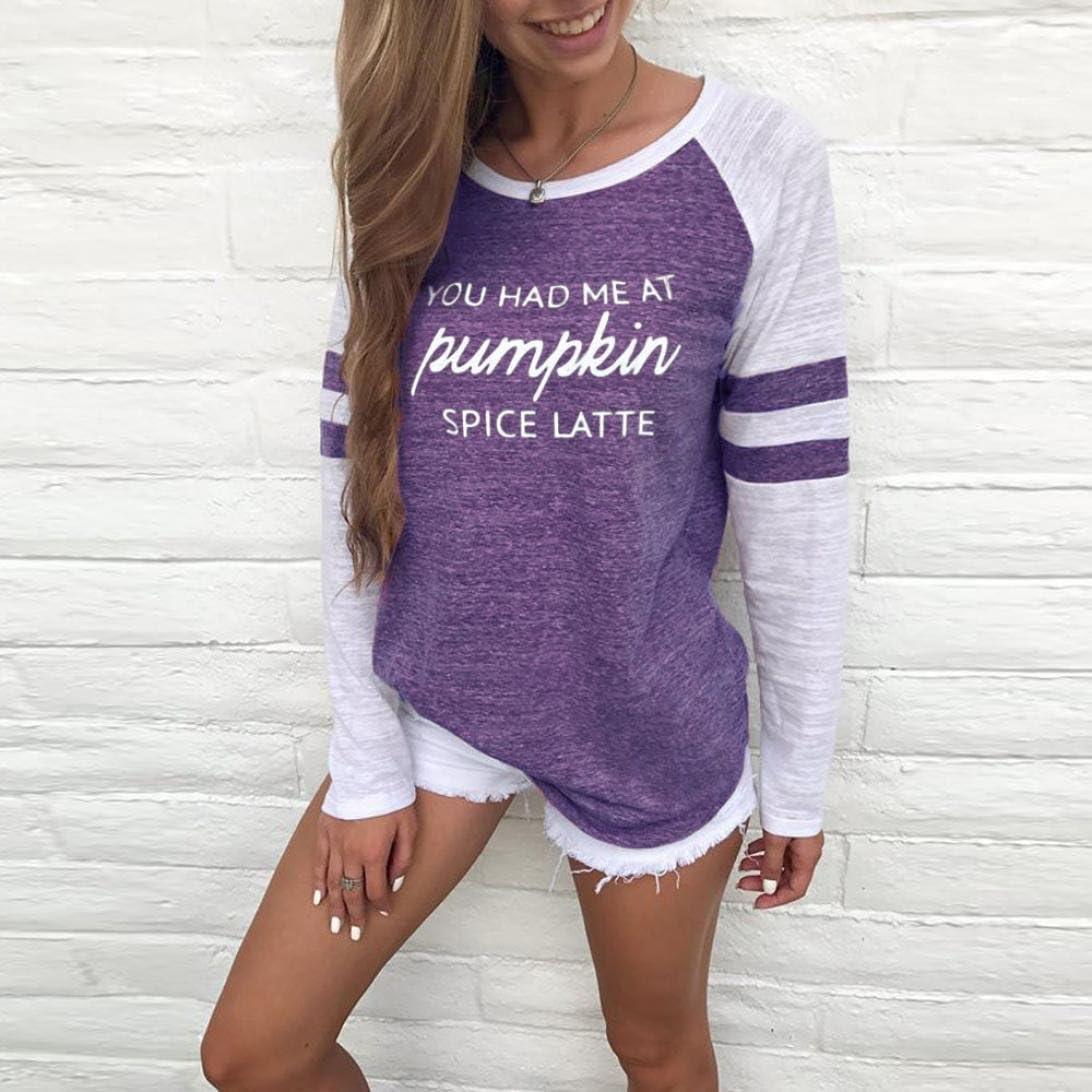 OVERDOSE Mode Damen Frauen Rundhals Lange Hülsen Spleiß Blusen Oberseiten Kleidung T-Shirt Tops Pullover Blusentops Sommer Oberteile Frauen Casual Sportwear Shirts S-purple