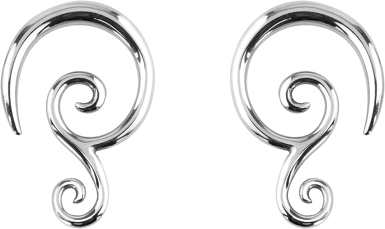 Forbidden Body Jewelry Pair of 6G-14G Surgical Steel Solid Tribal Design Taper Earrings