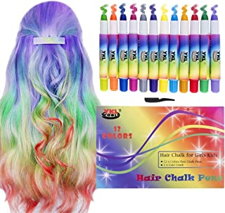 YKL WORLD Hair Chalk for Girls Kids, 12 Colorful Temporary Hair Chalk Pens Washable Hair Color Dye Chalks for Birthday Present Toys Christmas Gifts Themed Parties