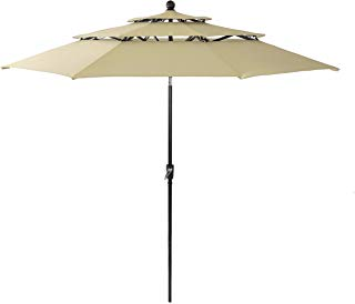 PHI VILLA 10ft 3 Tier Auto-tilt Patio Umbrella Outdoor Double Vented Umbrella, Beige