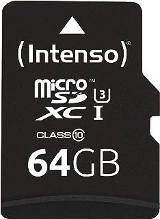 Intenso Professional 3433490 Scheda di memoria MicroSDXC da 64 GB (con Adattatore SD), Class 10 UHS-I, Nero