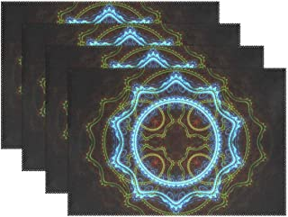 YPink Julian Fractal Art Apophysis Mathematics Generated 979343 Placemats Set of 4 Heat Insulation Stain Resistant for Dining Table Durable Non-Slip Kitchen Table Place Mats