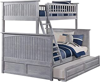 Atlantic Furniture Nantucket Bunk Bed with Twin Size Raised Panel Trundle, Twin/Full, Driftwood